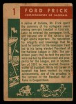 1959 Topps #1  Commissioner of Baseball  -  Ford Frick Back Thumbnail