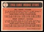 1966 Topps #392   -  Bill Hands / Randy Hundley Cubs Rookies Back Thumbnail