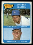 1965 Topps #8  NL ERA Leaders  -  Don Drysdale / Sandy Koufax Front Thumbnail