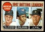 1968 Topps #2  1967 AL Batting Leaders  -  Al Kaline / Frank Robinson / Carl Yastrzemski Front Thumbnail