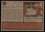 1962 Topps #85   Gil Hodges Back Thumbnail