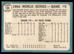1965 Topps #136  1964 World Series - Game #5 - 10th Inning Triumph  -  Tim McCarver / Bill White / Dick Groat / Mike Shannon Back Thumbnail