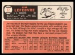 1966 Topps #57   Jim LeFebvre Back Thumbnail