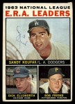 1964 Topps #1  1963 NL ERA Leaders  -  Sandy Koufax / Bob Friend / Dick Ellsworth Front Thumbnail