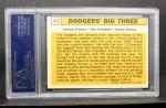 1963 Topps #412  Dodgers' Big 3  -  Johnny Podres / Don Drysdale / Sandy Koufax Back Thumbnail