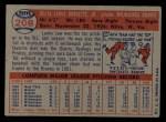 1957 Topps #208   Lew Burdette Back Thumbnail