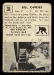 1951 Topps #31   Bill Owens Back Thumbnail