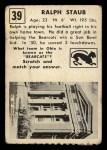 1951 Topps #39   Ralph Staub Back Thumbnail
