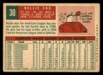 1959 Topps #30   Nellie Fox Back Thumbnail