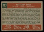 1959 Topps #262  Hitters' Foes  -  Clem Labine / Johnny Podres / Don Drysdale Back Thumbnail