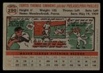 1956 Topps #290   Curt Simmons Back Thumbnail