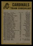 1974 Topps Red Team Checklists #23   -     Cardinals Team Checklist Back Thumbnail
