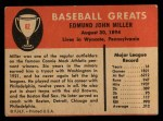 1961 Fleer #62  Bing Miller  Back Thumbnail