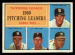 1961 Topps #47 ERR NL Pitching Leaders  -  Warren Spahn / Ernie Broglio / Lew Burdette / Vern Law Front Thumbnail
