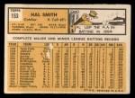 1963 Topps #153   Hal W. Smith Back Thumbnail