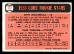 1966 Topps #482  Cubs Rookies  -  John Boccabella / Dave Dowling Back Thumbnail