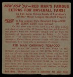 1953 Red Man #17 ALx  Bob Lemon Back Thumbnail