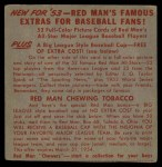 1953 Red Man #22 NLx Murry Dickson  Back Thumbnail