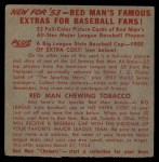 1953 Red Man #19 ALx Bob Porterfield  Back Thumbnail