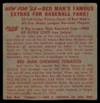 1953 Red Man #18 NLx Granny Hamner  Back Thumbnail