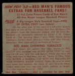 1953 Red Man #14 NLx Duke Snider  Back Thumbnail