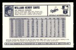 1973 Kelloggs 2D #43   Willie Davis Back Thumbnail
