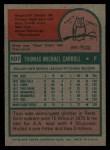 1975 Topps #507   Tom Carroll Back Thumbnail