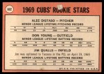 1969 Topps #602 ERR  -  Alec Distaso / Don Young / Jim Qualls  Cubs Rookies Back Thumbnail