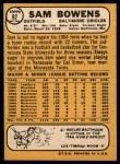 1968 Topps #82   Sam Bowens Back Thumbnail