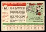 1955 Topps #80   Bob Grim Back Thumbnail