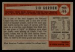 1954 Bowman #11   Sid Gordon Back Thumbnail