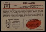 1953 Bowman #68   Dick Alban Back Thumbnail