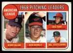 1969 Topps #9  1968 AL Pitching Leaders  -  Denny McLain / Luis Tiant / Dave McNally / Mel Stottlemyre Front Thumbnail
