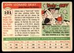 1955 Topps #101   Johnny Gray Back Thumbnail