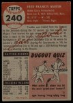 1953 Topps #240  Fred Marsh  Back Thumbnail