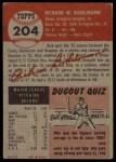1953 Topps #204  Dick Bokelmann  Back Thumbnail