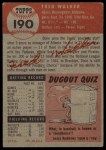 1953 Topps #190   Dixie Walker Back Thumbnail