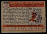 1957 Topps #13   Wally Burnette Back Thumbnail