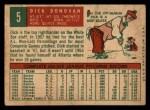 1959 Topps #5  Dick Donovan  Back Thumbnail