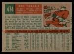 1959 Topps #474   Moe Thacker Back Thumbnail