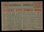 1959 Topps #465  Sievers Sets Homer Mark  -  Roy Sievers Back Thumbnail
