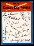 1973 Topps Blue Team Checklists  Kansas City Royals  Front Thumbnail