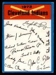 1973 Topps #8  Indians Team Checklist  Front Thumbnail