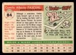 1955 Topps #84  Camilo Pascual  Back Thumbnail