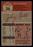 1953 Topps #36   Johnny Groth Back Thumbnail