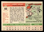 1955 Topps #40   Don Hoak Back Thumbnail