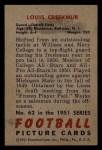1951 Bowman #62   Lou Creekmur Back Thumbnail