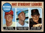 1968 Topps #11  NL Strikeout Leaders  -  Jim Bunning / Ferguson Jenkins / Gaylord Perry Front Thumbnail