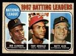 1968 Topps #1  NL Batting Leaders  -  Matty Alou / Roberto Clemente / Tony Gonzalez Front Thumbnail