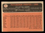 1966 Topps #404 ERR  Pirates Team Back Thumbnail